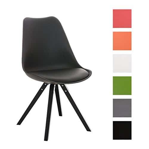 CLP Design Retro Stuhl PEGLEG SQUARE mit Holzgestell schwarz, Materialmix Kunststoff, Kunstleder, Holz