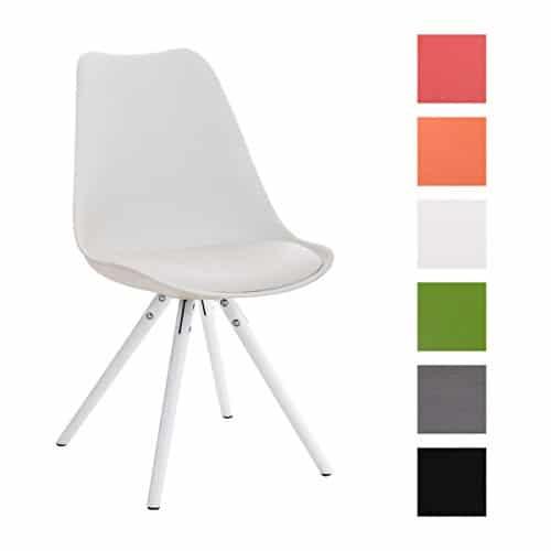 CLP Design Retro Stuhl PEGLEG mit Holz-Gestell weiß, Materialmix Kunststoff, Kunstleder
