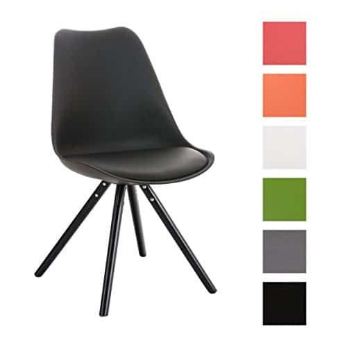 CLP Design Retro Stuhl PEGLEG mit Holzgestell schwarz, Materialmix Kunststoff Kunstleder Holz