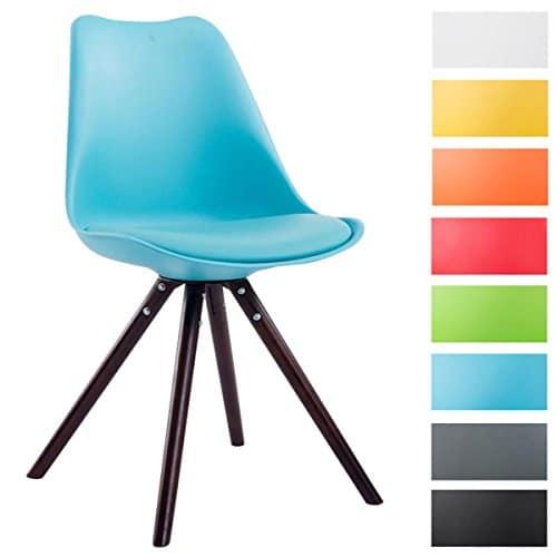 CLP Design Retro Stuhl TOULOUSE Holzgestell Cappuccino Rund, Kunststoff-Lehne, Kunstleder-Sitz gepolstert