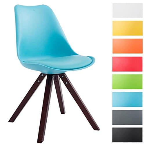 CLP Design Retro-Stuhl TOULOUSE Holzgestell Cappuccino Square, Kunststoff-Lehne, Kunstleder-Sitz gepolstert
