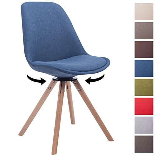 CLP Design Retro-Stuhl TROYES RUND mit Stoffbezug und hochwertiger Polsterung   Drehbarer Stuhl mit Schalensitz und massiven Holzbeinen   In verschiedenen Farben erhältlich