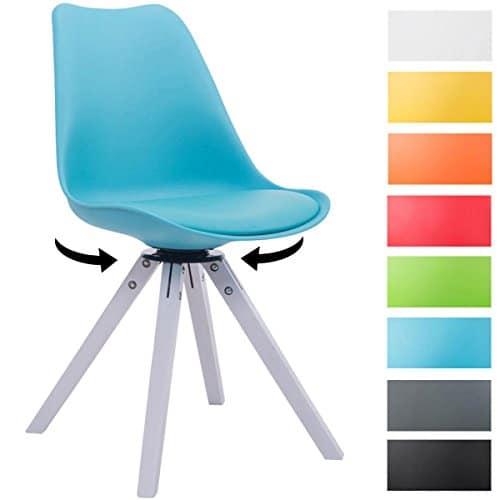 CLP Design Retro-Stuhl TROYES SQUARE mit Kunstlederbezug und hochwertiger Polsterung | 360° drehbarer Stuhl mit Schalensitz und massiven Holzbeinen | In verschiedenen Farben erhältlich