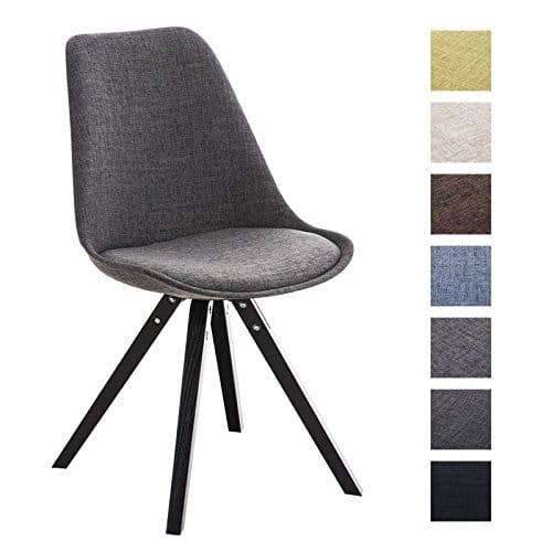 CLP Retro Design Stuhl PEGLEG SQUARE mit Holzgestell schwarz, Stoffsitz, Besucherstuhl
