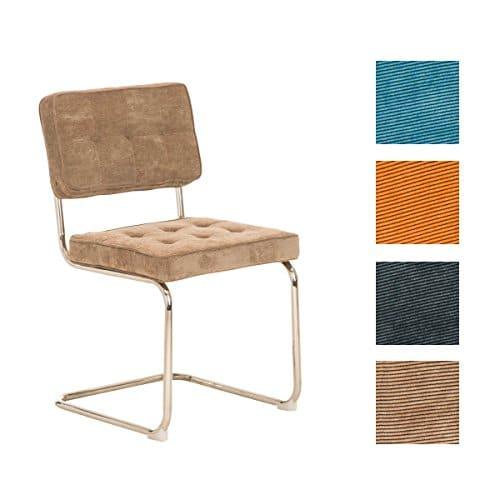 CLP Retro Freischwinger-Stuhl CHIVA Cordstoff Bezug - aus 4 Farben wählen
