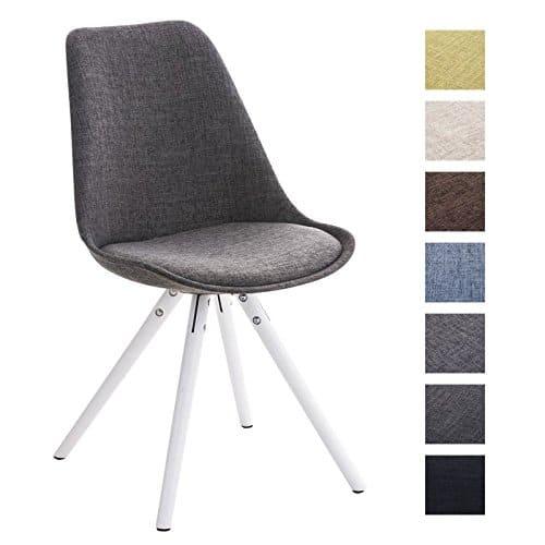CLP Retro Stuhl PEGLEG mit Holzgestell weiß, Schalenstuhl Stoffsitz