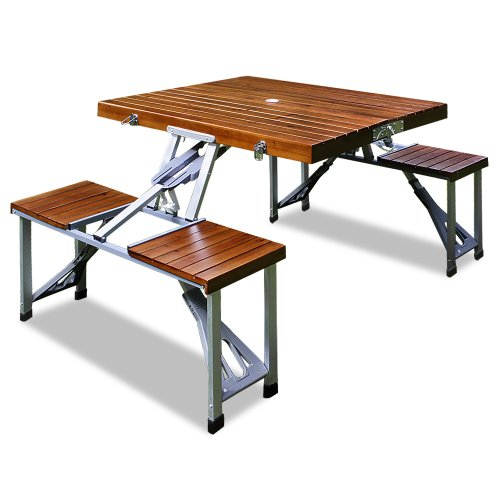 Camping Sitzgarnitur aus Alu | Tischplatte aus Echtholz | Kofferfunktion | 4 Sitzplätze | klappbar | Campingtisch Campingmöbel Sitzgruppe [ Modellauswahl ]