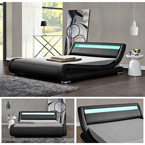 DIABLO Schwarz LED Doppelbett Polsterbett Bettgestell Bett Lattenrost Kunstleder