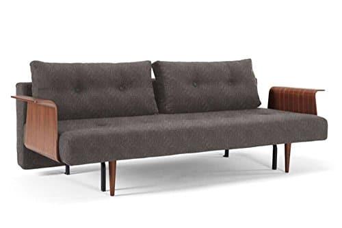 INNOVATION LIVING Design Sofa Schlafsofa Recast mehr Special Flashtex Dark Grey Convertible Bett 200* 140cm Armlehnen Nussbaum