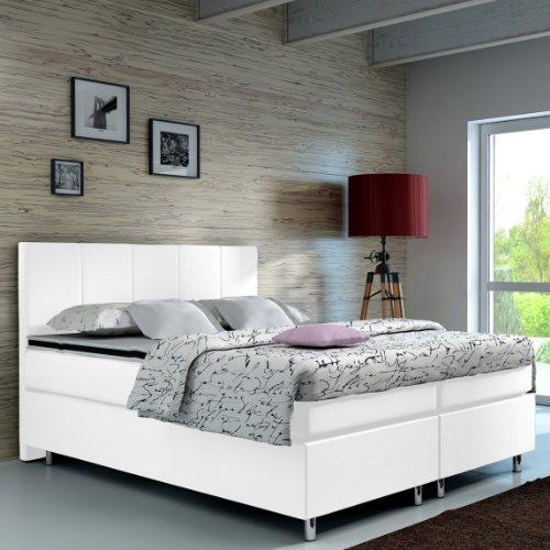 designer lederlook boxspringbett mit chromleisten hotelbett doppelbett polsterbett ehebett. Black Bedroom Furniture Sets. Home Design Ideas