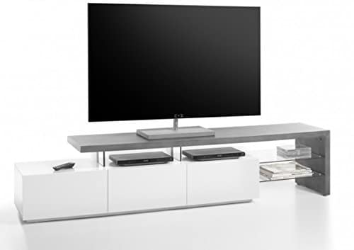 Dreams4Home TV-Lowboard 'Molis' - TV-Schrank, TV-Tisch, TV-Kommode, Schrank, Kommode, Konsole, Lowboard, mit Sicherheitsglasablage, 3 Schubkästen, B/H/T: 204 x 44 x 40 cm, Wohnzimmer, TV-Möbel, Media Möbel, MDF, matt weiß / Beton Optik