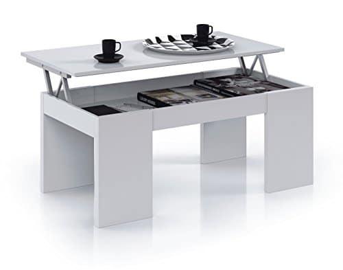 Due-Home Innovations Kendra Couchtisch, aufklappbare Platte, Weiß