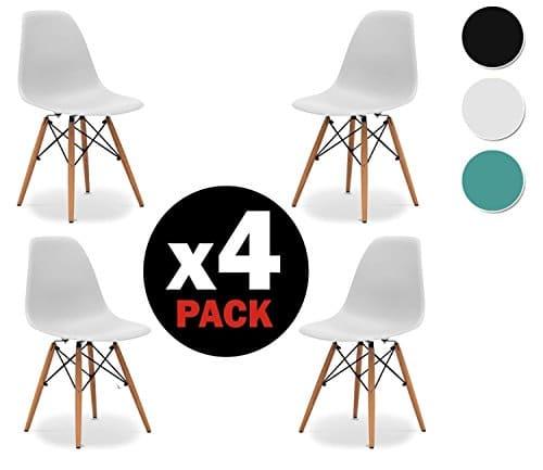 due-home (Nordik)–Pack 4Stühle weiße Tower, Stuhl Replica Eames Weiß und Buche, Maße: 47cm breit x 56cm tief x 81cm Höhe