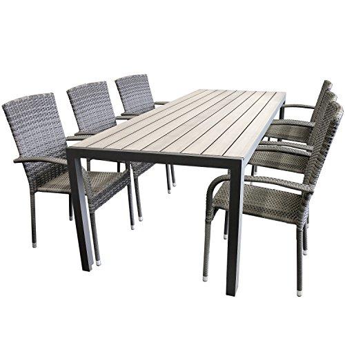 Elegante 7tlg. Gartengarnitur Aluminium Polywood Non-Wood 205x90cm Gartentisch Sitzgruppe Rattan Gartenstuhl Stapelbar Stapelstuhl Terrassenmöbel Gartenmöbel Sitzgarnitur