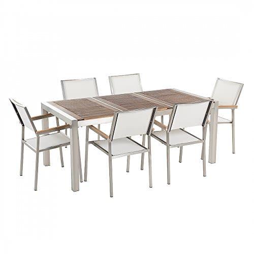 Gartenmöbel - Edelstahltisch 180 cm Holzplatte mit 6 weissen Stühlen - GROSSETO