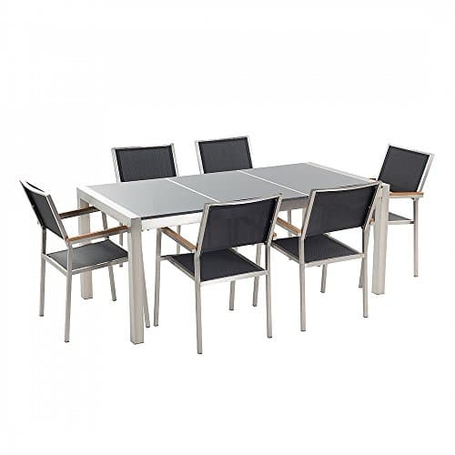 Gartenmöbel - Essgruppe - Granitgartentisch grau poliert 180 cm mit sechs schwarzen Stühlen - GROSSETO