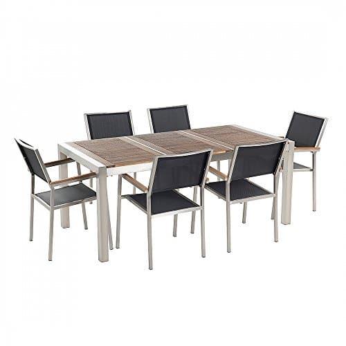 Gartenmöbel - Essgruppe - Holzgartentisch 180 cm mit sechs schwarzen Stühlen - GROSSETO