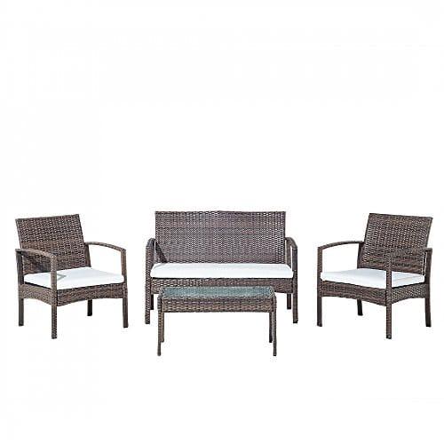 Beliani Lounge Set Rattan braun 4-Sitzer Auflagen beige MARSALA