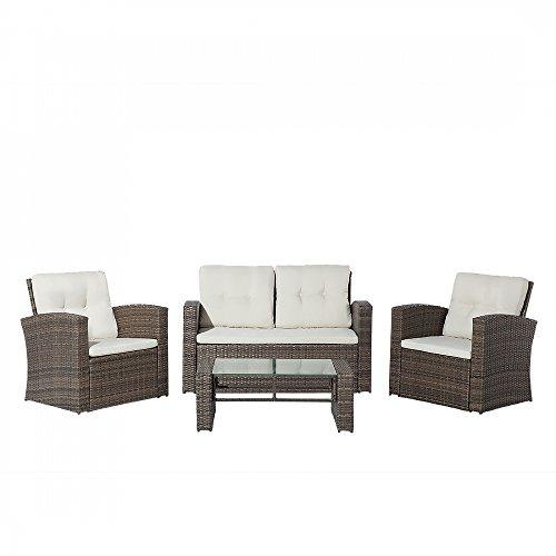 Beliani Lounge Set Rattan braun 4-Sitzer Auflagen beige LUCA
