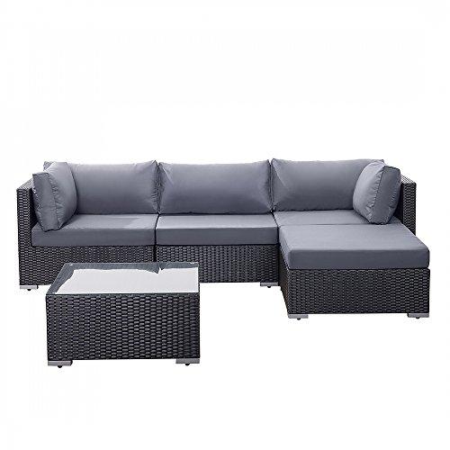 gartenm bel schwarz rattanm bel polyrattan lounge. Black Bedroom Furniture Sets. Home Design Ideas