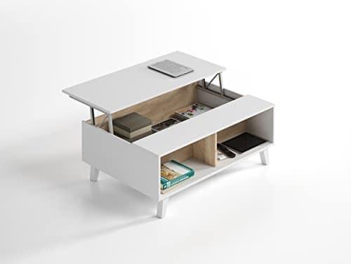 Habitdesign 0F6633bo Couchtisch elebable Esszimmer Wohnzimmer, Weiß Glanz und Eiche Canadian, Maße: 100x 38/58x 68cm tief