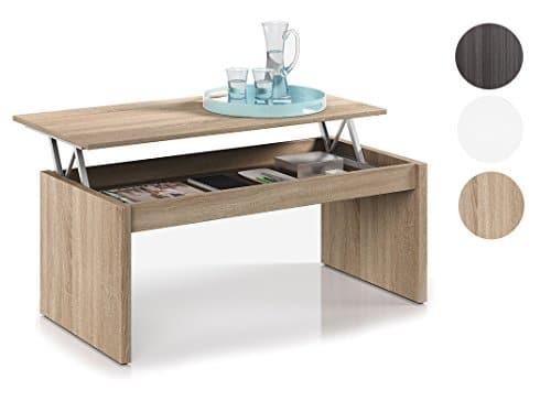 Habitdesign 001638F Moderner Couchtisch mit höhenverstellbarer Platte natürliche Holzfarbe