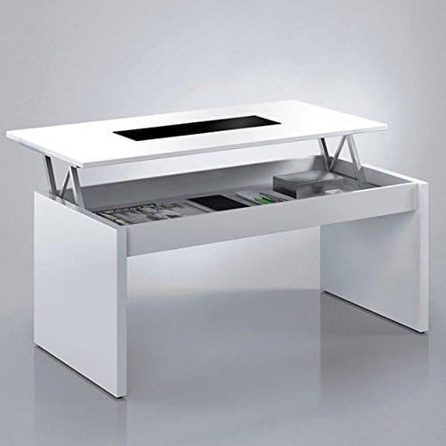 Habitdesign (0t1638bo) Couchtisch Mehrfach gewölbt, weißes Finish Glanz Und Glas Schwarz, Maße: L 100cm x 50cm x 43/52cm Höhe