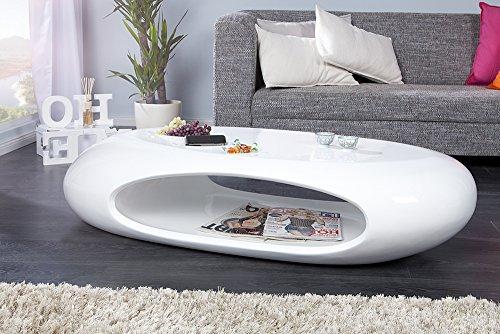 Invicta Interior Organic II Design Couchtisch Hochglanz Lack weiss 135 cm