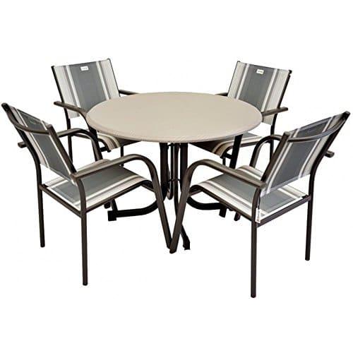 JUSTyou AlbErgo Essgruppe Gartenmöbel Gartengarnitur Set 4x Stuhl + Tisch in Metall-Optik mit Farbauswahl