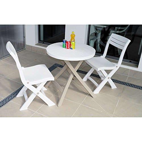 JUSTyou Bistro Essgruppe Gartenmöbel Gartengarnitur Set 2x Stuhl + Tisch große Farbauswahl