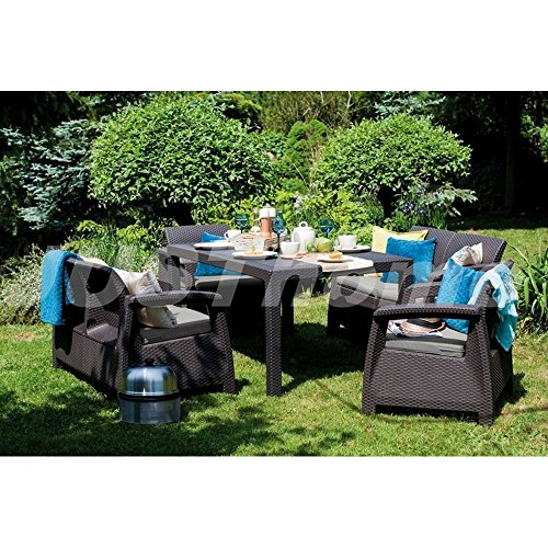 justhome essgruppe gartenm bel gartengarnitur corfu fiesta 2x sofa 2x sessel 1x tisch mit. Black Bedroom Furniture Sets. Home Design Ideas