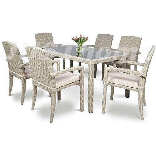 JUSThome Essgruppe Gartenmöbel Gartengarnitur Parma / Torino 6x Stuhl + Glastisch Farbe: Grau
