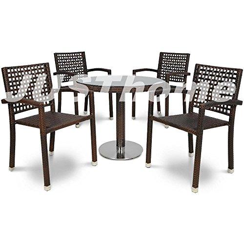 JUSThome Essgruppe Gartenmöbel Gartengarnitur ROCA / POLINA 4x Stuhl + 1x Tisch fi80 Braun