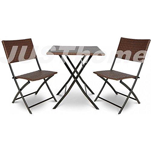 JUSThome Essgruppe Gartenmöbel Gartengarnitur Smart 60x60 cm 2x Stuhl + Tisch mit Farbauswahl