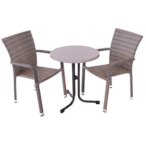 JUSTyou Manila Essgruppe Gartenmöbel Gartengarnitur Set 2x Stuhl + 1x Tisch aus Technorattan mit Farbauswahl