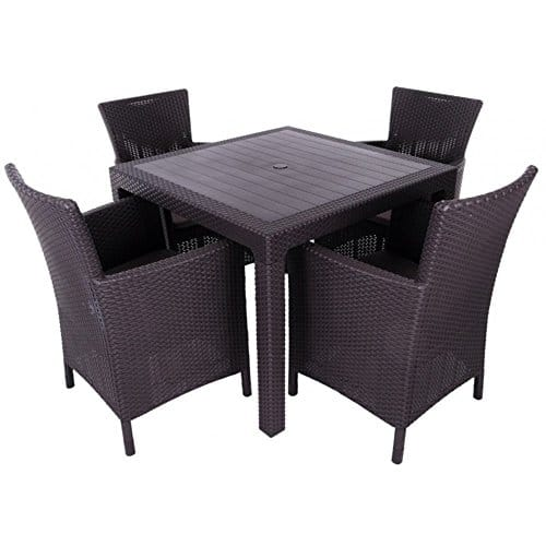 justhome montana essgruppe gartenm bel gartengarnitur 4x sessel tisch in rattan optik braun. Black Bedroom Furniture Sets. Home Design Ideas
