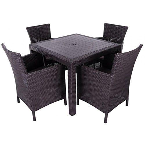 JUSTyou Montana Essgruppe Gartenmöbel Gartengarnitur 4x Sessel + Tisch in Rattan-Optik Braun Beige