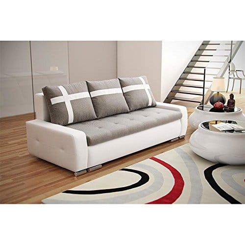 JUSThome Senso Mini Einzelsofa Sofa Schlafsofa Strukturstoff Kunstleder (BxHxT): 230x95x103 cm große Farbauswahl