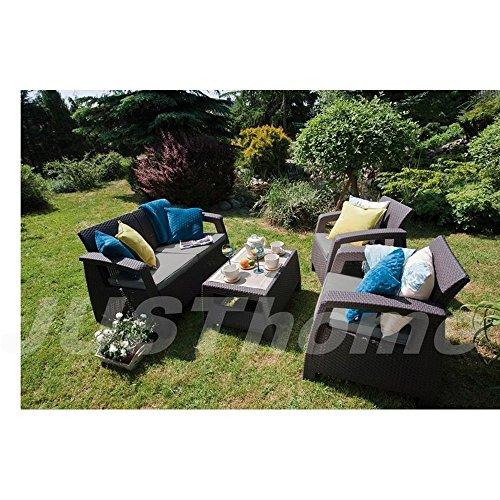 JUSTyou Sitzgruppe Gartenmöbel Gartengarnitur CORFU 1x Sofa + 2x Sessel + 1x Tisch mit Farbauswahl