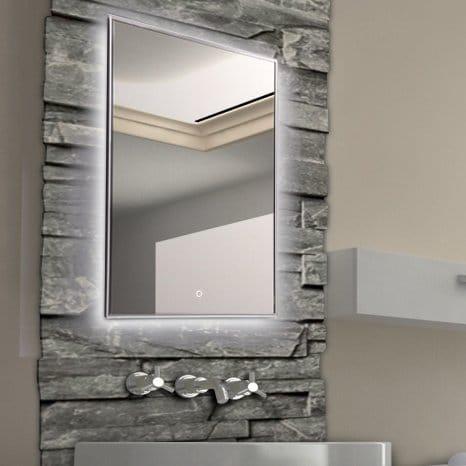 krollmann badspiegel mit led beleuchtung touch sensor 60 x 80 cm spiegel mit tageslicht. Black Bedroom Furniture Sets. Home Design Ideas