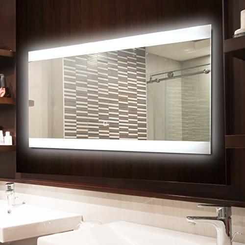 KROLLMANN Badspiegel LED Spiegel mit Beleuchtung durch satinierte Lichtflächen, 80 x 40 cm, Badezimmer Spiegel [Energieklasse A+]