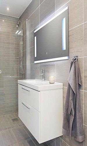 KROLLMANN Badspiegel mit LED-Beleuchtung und Touch Sensor, 80 x 40 cm, 220-240V, Spiegel mit Tageslicht Badezimmerspiegel