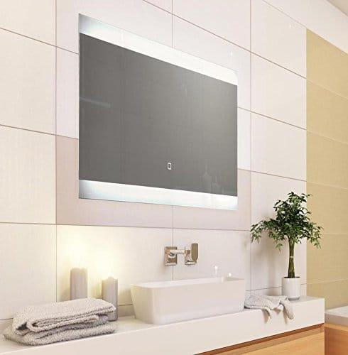 KROLLMANN Badspiegel mit LED Beleuchtung und Touch Sensor, Satinierte Lichtflächen, 80 x 40 cm [Energieklasse A+]