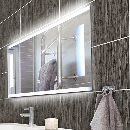 KROLLMANN Badspiegel rahmenlos, LED Spiegel aus Kristallglas mit Beleuchtung, 80 x 40 cm Spiegel ohne Rahmen