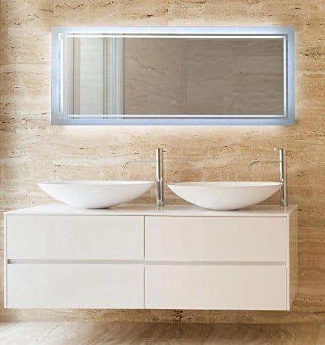 KROLLMANN Spiegel rahmenlos, mit Beleuchtung, 120 x 50 cm feuchtraumgeeigneter Badspiegel LED-beleuchtet ohne Rahmen [Energieklasse A+]