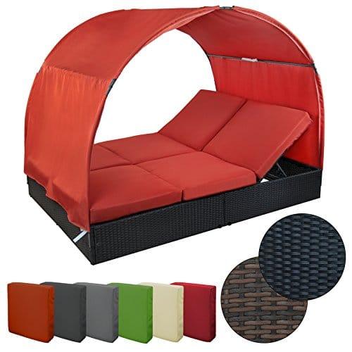 Komfort Sonnenliege MOSAMBIK Polyrattan Doppelbett 200 x 140 cm mit Sonnendach Loungeliege Lounge-Liege Doppelliege Gartenliege mit Dach Sonneninsel Liegeinsel mit verstellbaren Rückenlehnen