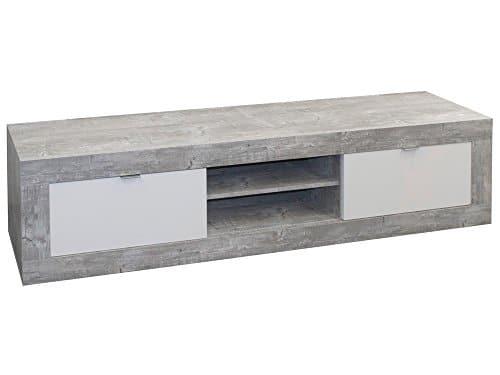 Lowboard TV-Schrank JUMP Design Beton Weiß Türen offenes Regalfach