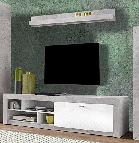 Unbekannt Lowboard TV-Unterschrank mit Wandregal 458218 200cm beton/weiß Hochglanz