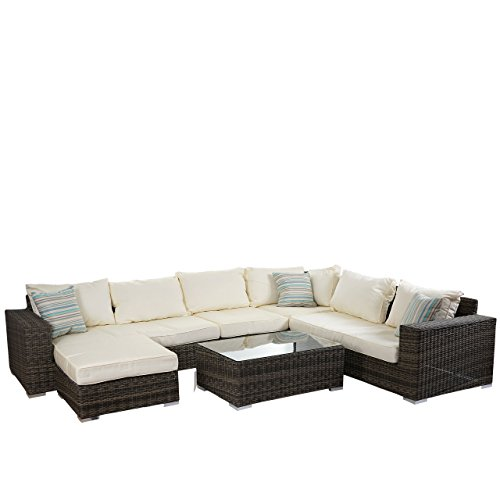 Luxus Poly-Rattan Sofa-Garnitur Melilla, Lounge-Set Gartengarnitur, Alu-Gestell