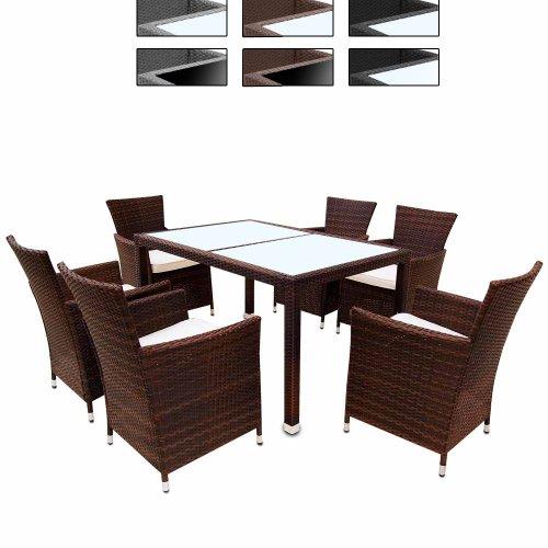 Miadomodo Elegante 6+1 Polyrattan Aluminium Sitzgarnitur Rattan Gartenmöbel Set inkl. Kissen und 2 Glasplatten in Schwarz oder Milchweiß